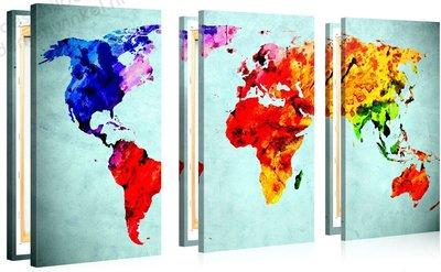 Schilderij Wereldkaart Vivida Waterverf XL 3-delig (130x80cm)