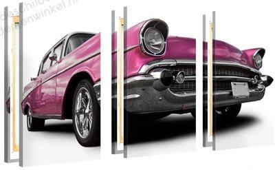 Schilderij Cadillac Roze XL 3-delig (120x80cm)