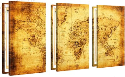Schilderij Wereldkaart Retro XL 3-delig (120x80cm)
