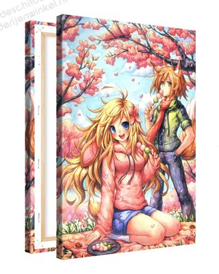 Schilderij Foxy Herfst Anime XL (80x120cm)