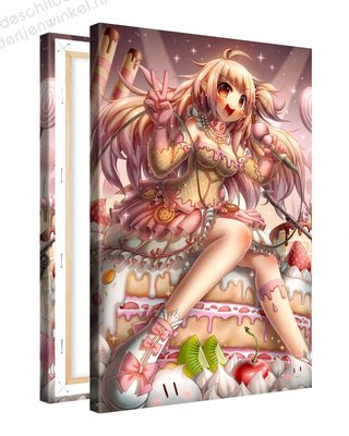 Schilderij Aardbei Lulun Anime XL (80x120cm)