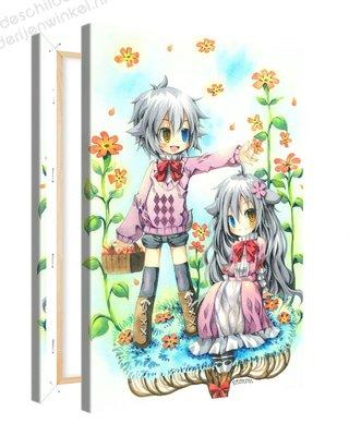 Schilderij Broer Zus Anime XL (80x120cm)