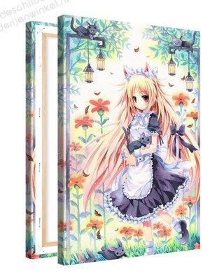 Schilderij Prinses met Katten Anime  XL (80x120cm)