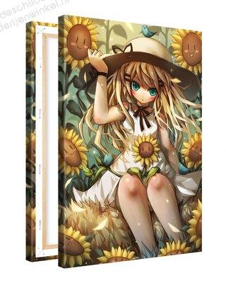 Schilderij Zonnebloemen Anime XL (80x120cm)
