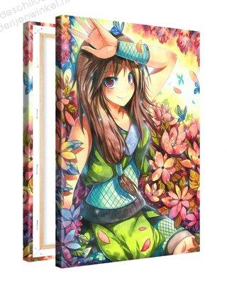 Schilderij Vlinder Meisje Anime XL (80x120cm)