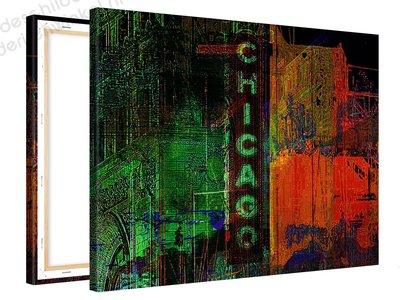 Schilderij Chicago Nacht (100x75cm) [Premium Collectie]