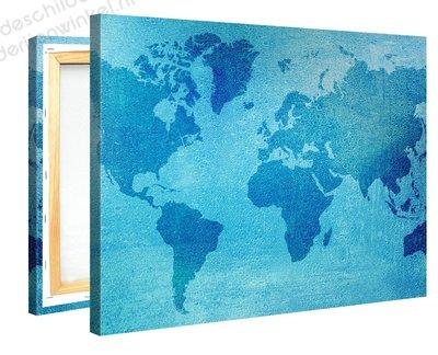 Schilderij Wereldkaart Aqua (100x75cm) [Premium Collectie]