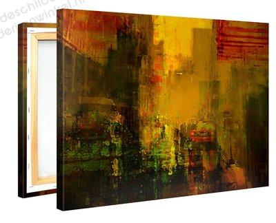 Schilderij Gele Stad (100x75cm)