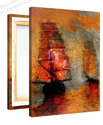 Schilderij Melancholische Boten (75x100cm)
