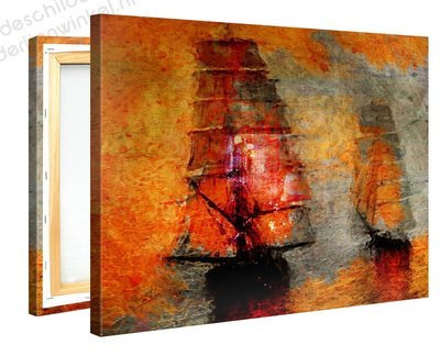 Schilderij Melancholische Boten (100x75cm)
