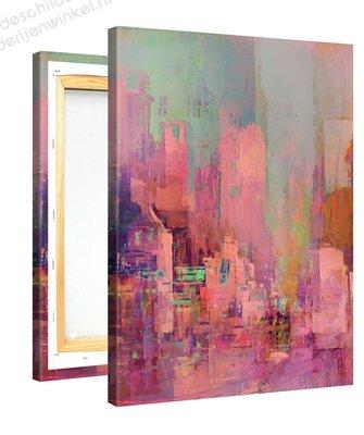 Schilderij Roze Stad (75x100cm)