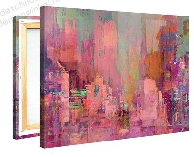 Schilderij Roze Stad (100x75cm)