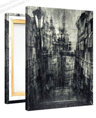 Schilderij Vintage Stad (75x100cm)