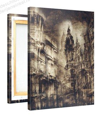Schilderij Stad Sepia Retro (75x100cm)