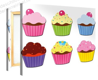 Schilderij Kleurrijke Cupcakes (100x75cm)