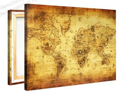 Schilderij Wereldkaart Retro (100x75cm)