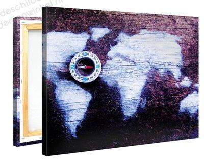 Schilderij Wereldkaart Kompas (100x75cm)