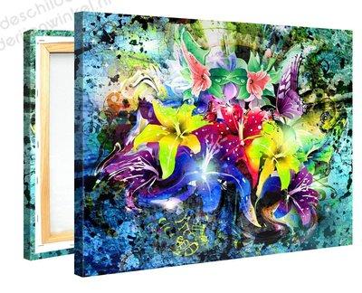 Schilderij Felle Bloemen Power (100x75cm)