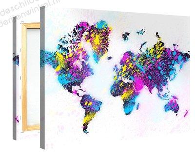 Schilderij Wereldkaart Fluor (100x75cm)