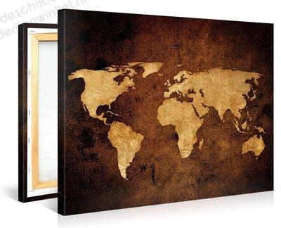 Schilderij Wereldkaart Bronze (100x75cm)