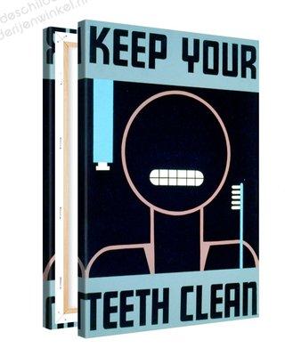 Schilderij Keep Your Teeth Clean XL (80x120cm)