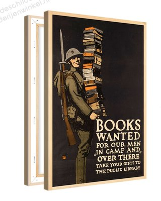 Schilderij Books Wanted Public Library XL (80x120cm)