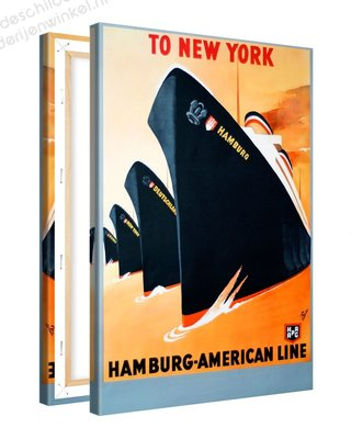 Schilderij To New York Hamburg-American Line XL (80x120cm)