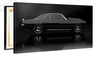 Schilderij Ford Mustang Zwart (100x50cm) [Premium Collectie]