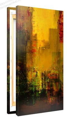Schilderij Gele Stad (50x100cm)
