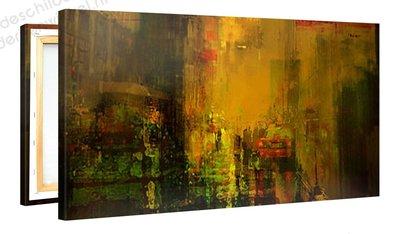 Schilderij Gele Stad (100x50cm)