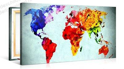 Schilderij Wereldkaart Vivida Waterverf (100x50cm)