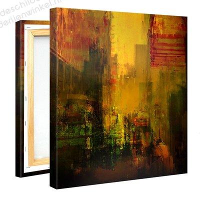 Schilderij Gele Stad (80x80cm)