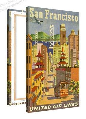 Schilderij San Francisco United Airlines (60x100cm)