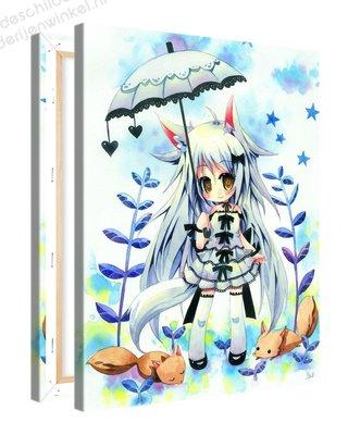 Schilderij Fei Lia Met Vossen Anime (75x100cm)