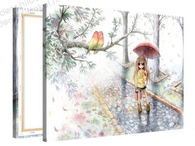 Schilderij Liefde In De Regen Anime (100x75cm)
