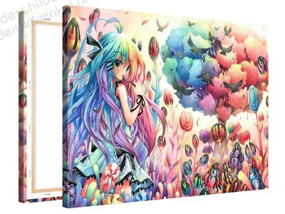 Schilderij Snoepbos Anime (100x75cm)