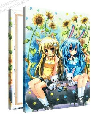Schilderij Zonnebloemvrienden Anime (75x100cm)