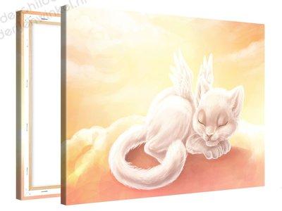 Schilderij Kat Met Vleugeltjes (100x75cm)