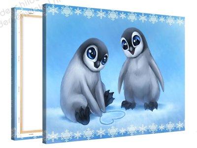 Schilderij Schattige Penguins (100x75cm)