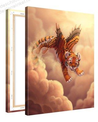 Schilderij Tijger Met Vleugeltjes (75x100cm)