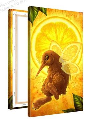 Schilderij Citroen Fruitvogeltje (60x100cm)