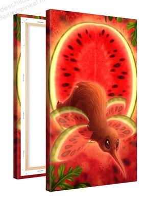 Schilderij Meloen Fruitvogeltje (60x100cm)