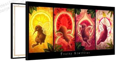 Schilderij Vier Fruitvogeltjes (100x50cm)