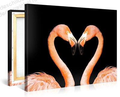 Schilderij Twee Roze Flamingo's (100x75cm)