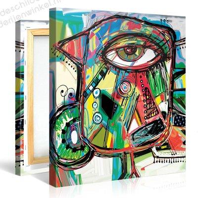 Schilderij Artistieke Papegaai (80x80cm)