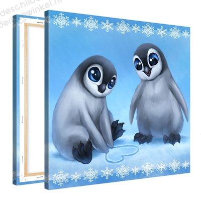 Schilderij Schattige Penguins (80x80cm)