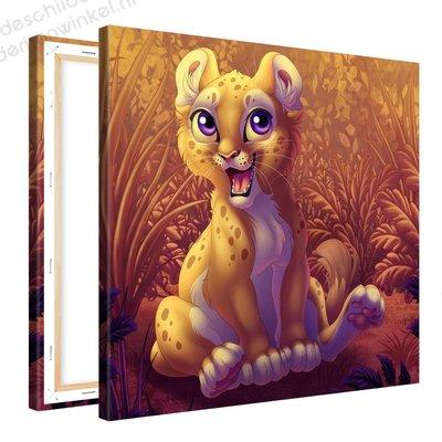 Schilderij Leeuwen Welpje (80x80cm)