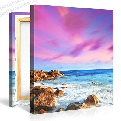Schilderij Zeerots met paarse lucht (80x80cm)