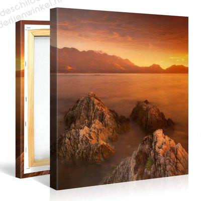 Schilderij Heldere Zee Zonsondergang (80x80cm)