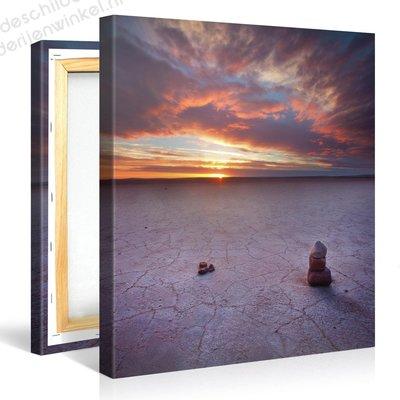 Schilderij Rotsformatie Woestijn Zonsondergang (80x80cm)